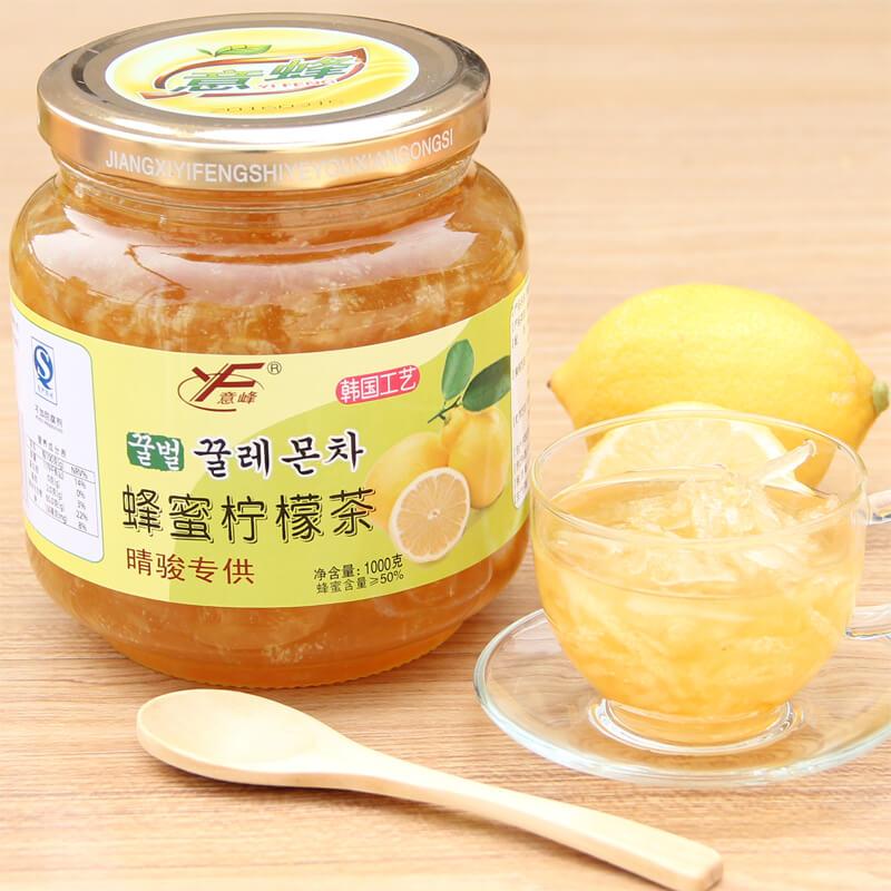 送杯勺 意峰蜂蜜檸檬茶1000g 1kg 韓國風味蜜煉醬水果茶衝飲品