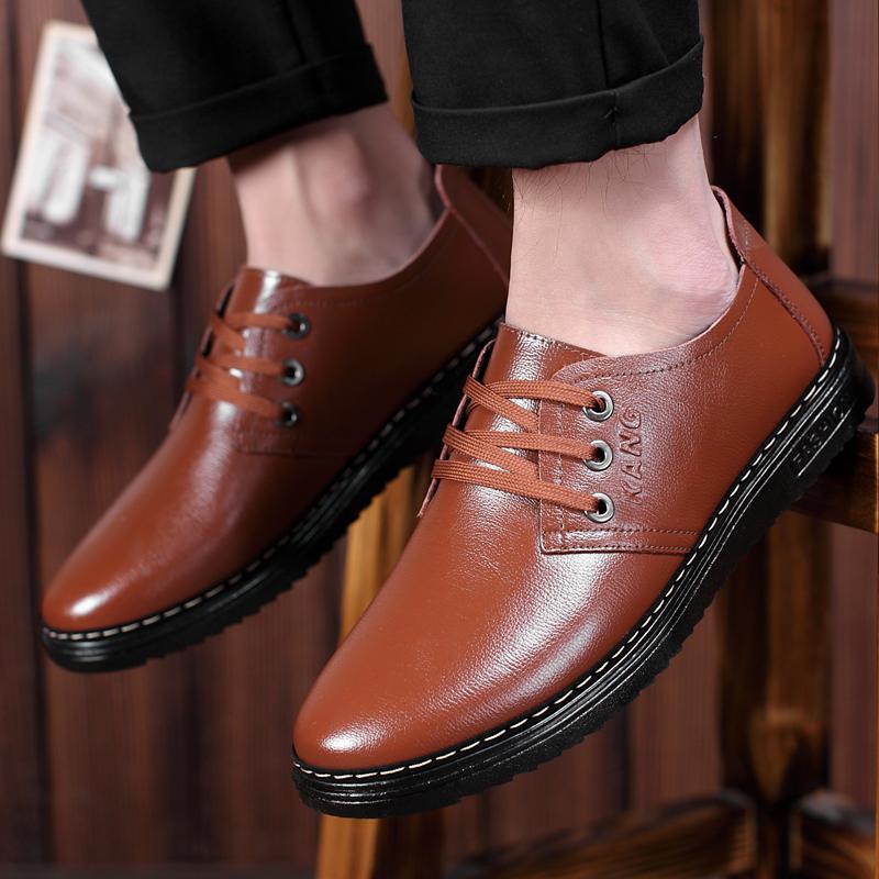 男鞋新款春季鞋子 男英伦商务正装皮鞋男士青年黑色圆头休闲鞋男