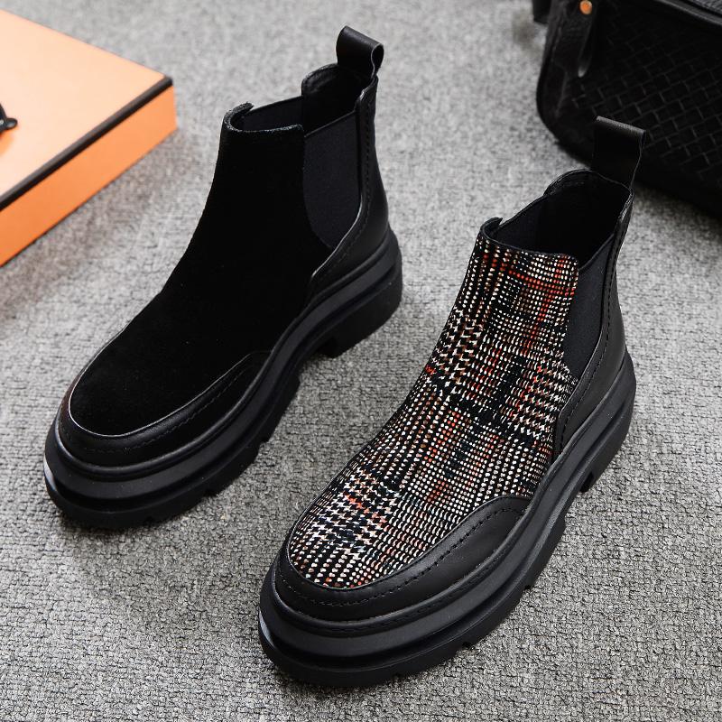 欧洲站2020冬季新款女鞋圆头真皮平底拼接格子欧美厚底马丁靴短靴