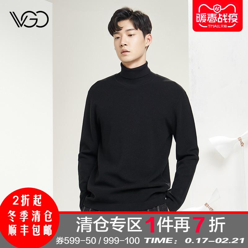 VGO潮牌男士长袖针织衫高领羊毛衫休闲套头修身毛衣男秋冬新款