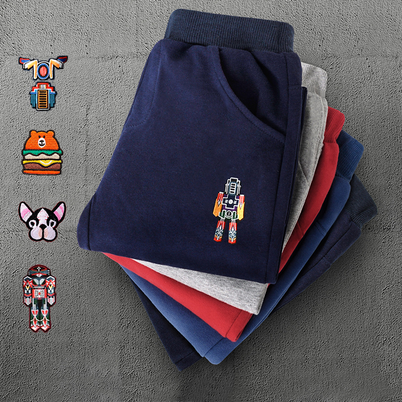 Childrens pants, boys sports pants, autumn and winter childrens wear, new plush middle school childrens casual pants, girls pants