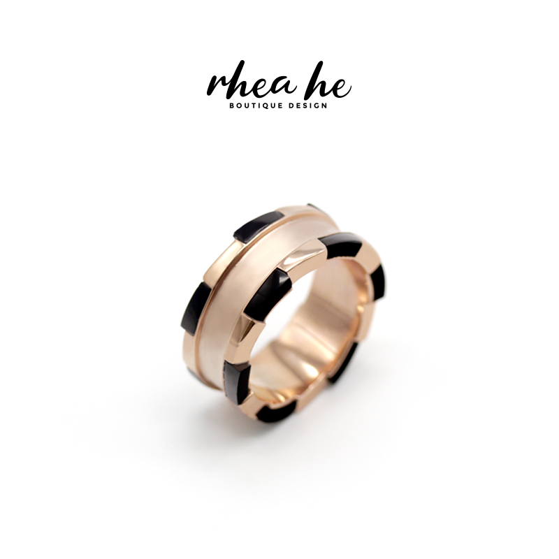 Rheahe color matching original design creative chip ring Sterling Silver trend minority fashion luxury men and women