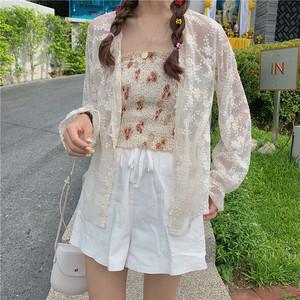 实拍实价 控价36-21 超洋气很仙的蕾丝衫网纱配裙子的小外套防