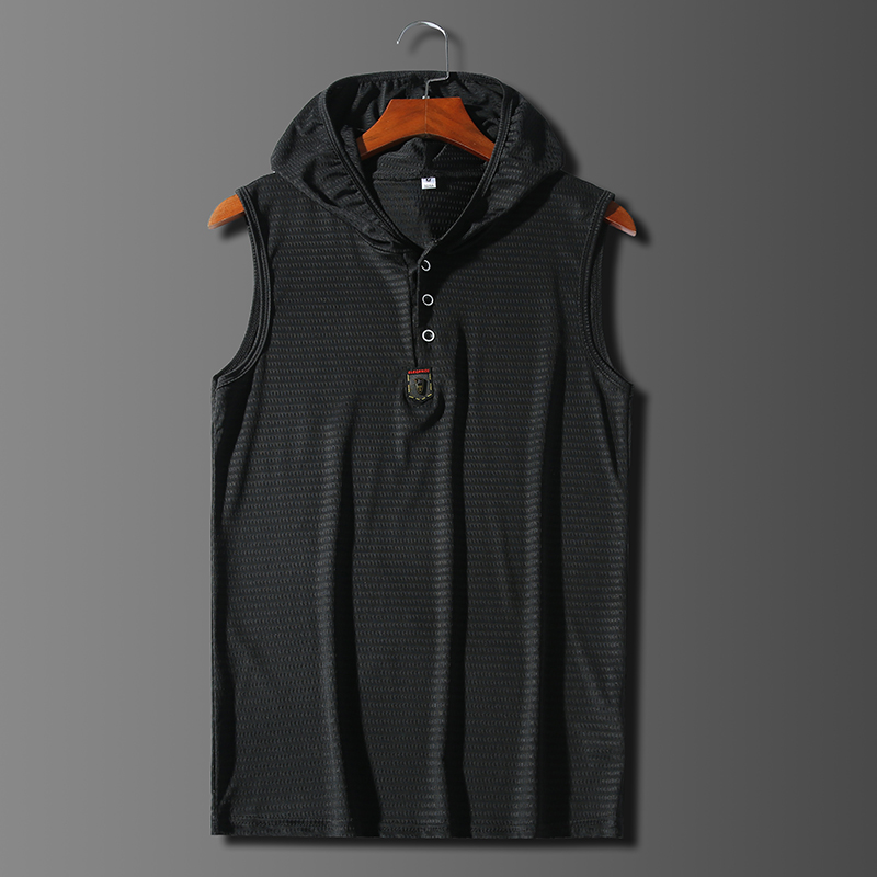 Summer slim trackless fitness Sweatshirt ice silk mesh vest mens slim sleeveless crew neck quick drying and breathable