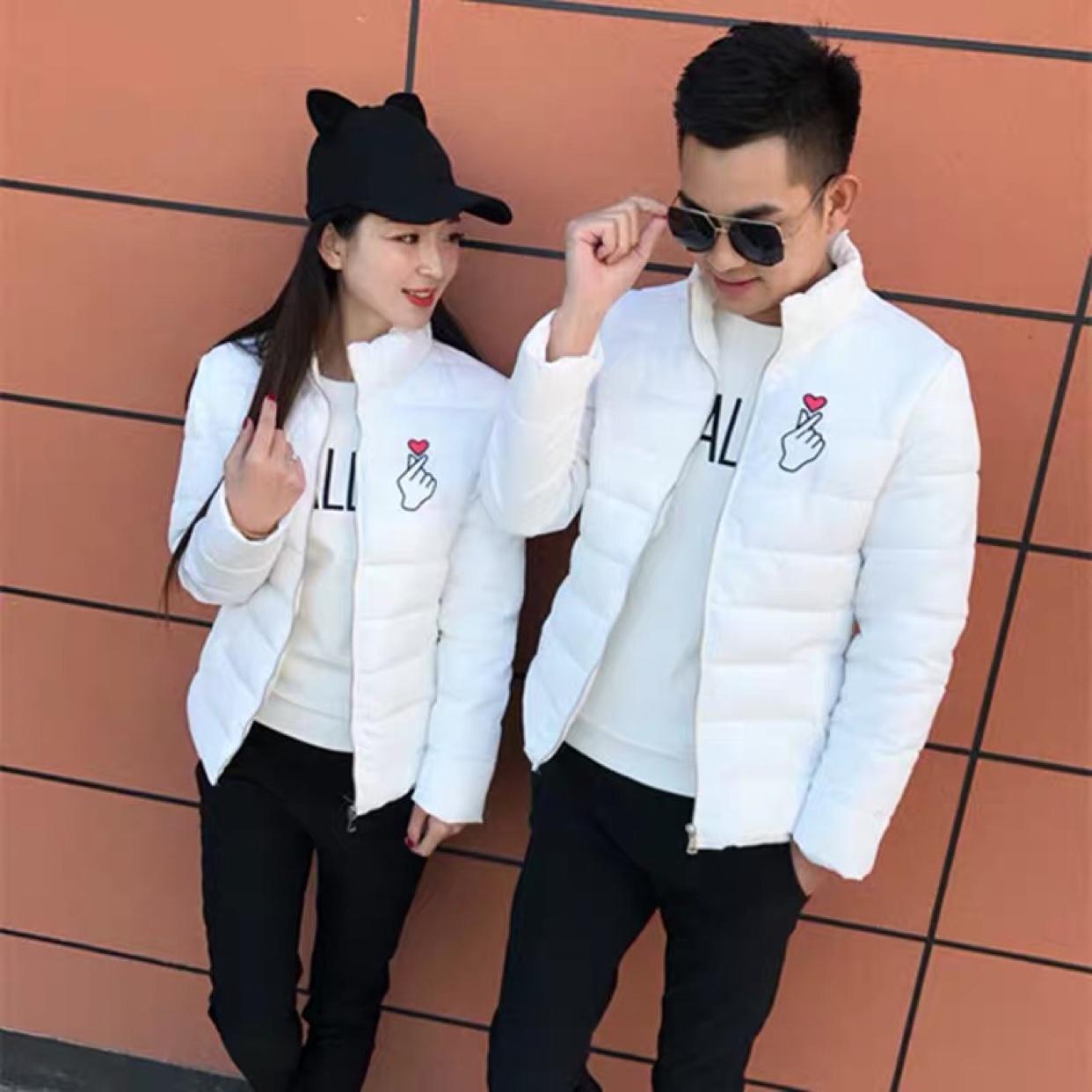 快手红人同款2019冬季情侣棉衣时尚修身男女加厚韩版短款棉袄外套