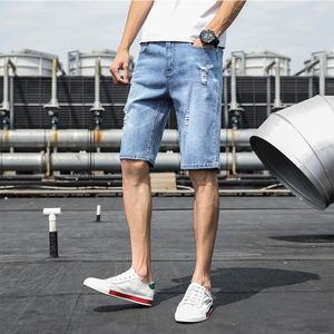 男士牛仔短裤夏季薄款潮流宽松五分韩版中裤破洞七分直筒休闲裤子