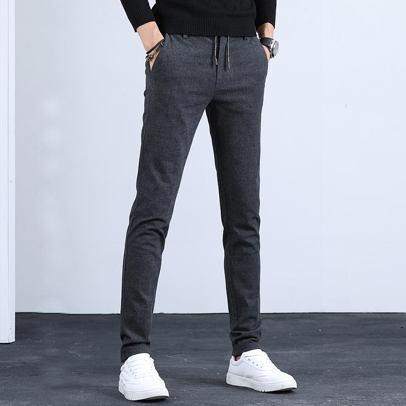 春季男裤休闲裤子男韩版潮流修身小脚长裤弹力青年男士黑色裤