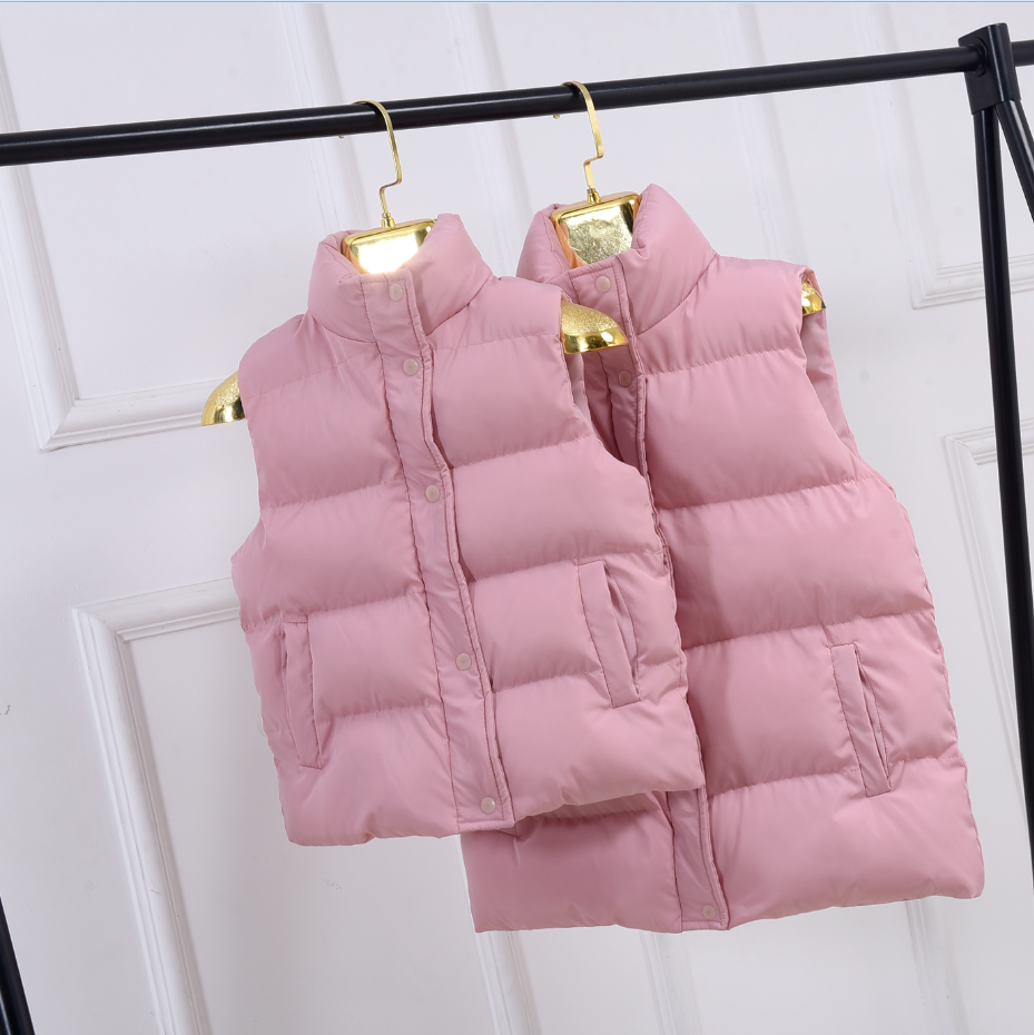 Girls vest, winter childrens wear, thickened down cotton, parent-child wear, childrens cotton coat, autumn boys pure color vest