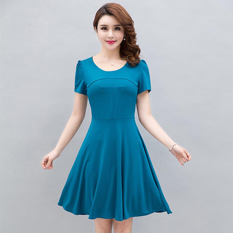 夏季新款中年女装连衣裙女妈妈装韩版修身大码纯色中长款短袖裙子券后33.50元