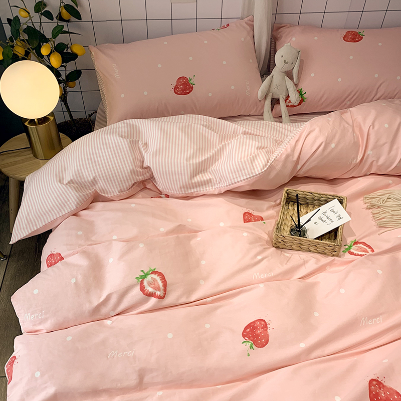 ins wind pink 100 cotton pure cotton bedding four-piece cover sheet three-piece girl heart princess wind quilt cover