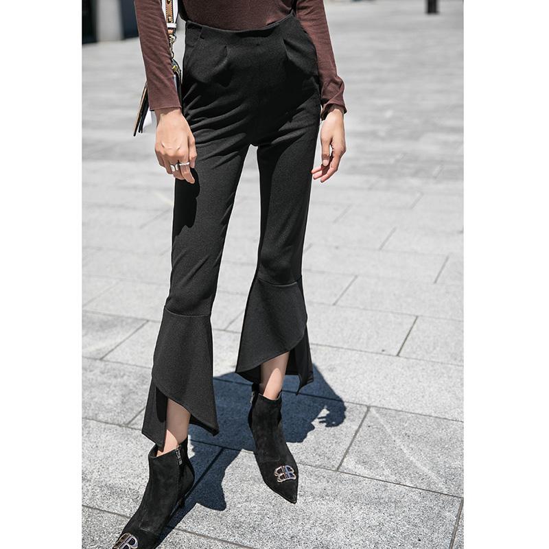 High waist micro flared pants womens autumn winter 2020 new Capris Chiffon split Wide Leg Pants Black Slim micro flared pants