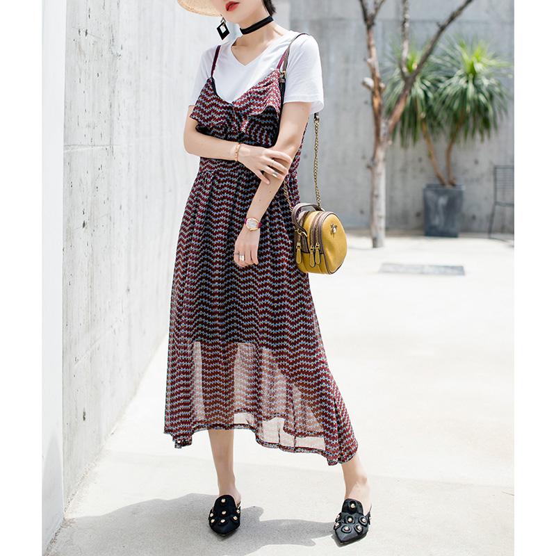 Mengyige Chiffon suspender dress for women in summer