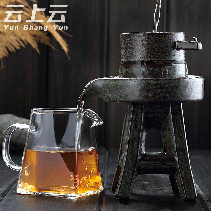 石磨茶漏创意过滤网茶叶泡茶器玻璃滤茶个性漏斗功夫茶具套装配件
