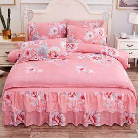 公主风床裙式四件套床罩加厚磨毛床单被套被罩韩版三件套床上用品