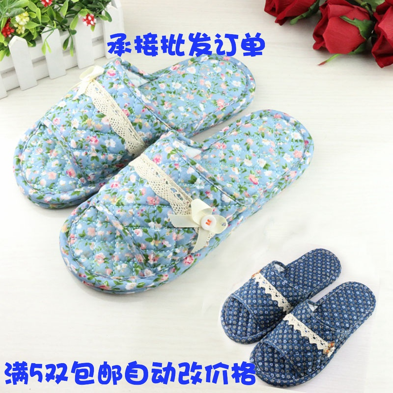 Couple pure cotton cloth silent wood floor slippers men and women home soft cloth bottom slippers mute machine washable