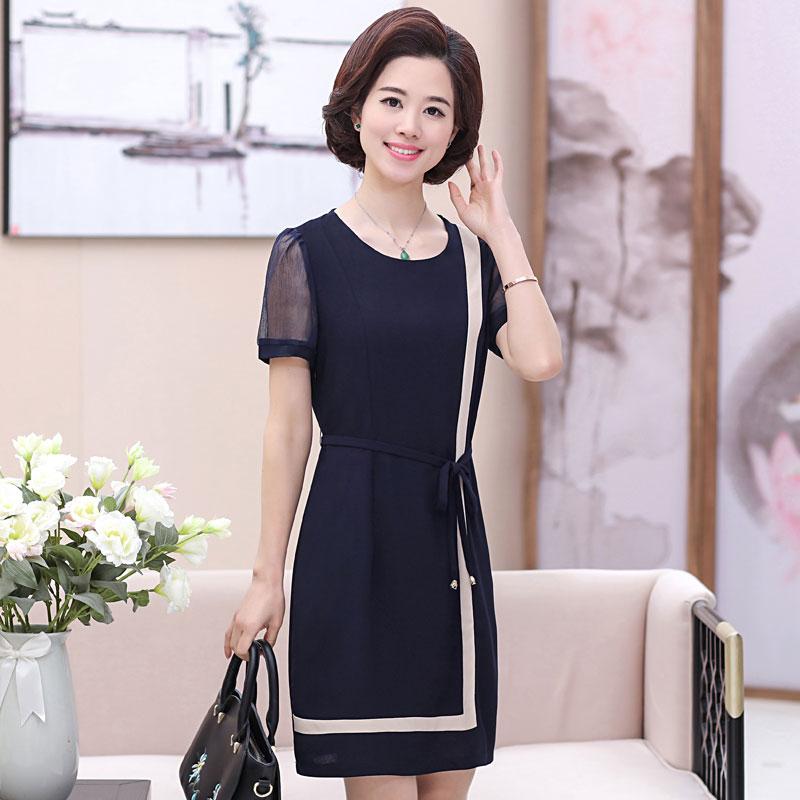 夏装新款中年妈妈装短袖时尚连衣裙