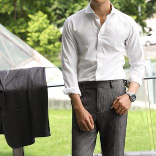 休闲舒适商务白色英伦长袖绅士衬衫