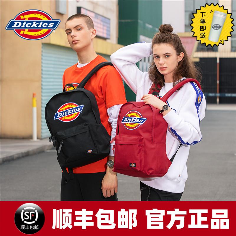 Dickies潮牌经典彩色LOGO大容量双肩包女男学生背包纯色书包C028