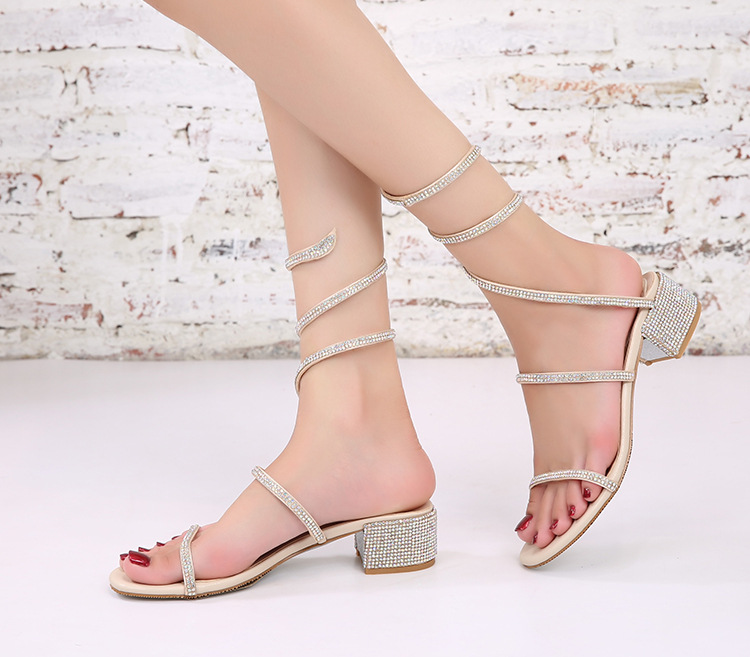 Snake shaped belt wrapped soft girl sandals diamond one line open toe women sandals middle heel thick heel leather belt wrapped around ankle