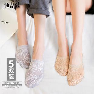 低帮硅胶防滑袜套 隐形丝袜纯棉袜底薄款 船袜子女短袜浅口蕾丝夏季