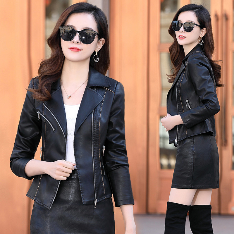 Limited Henning leather womens short spring and autumn slim high waist sheep leather all-around jacket jacket with ruffles and ouana