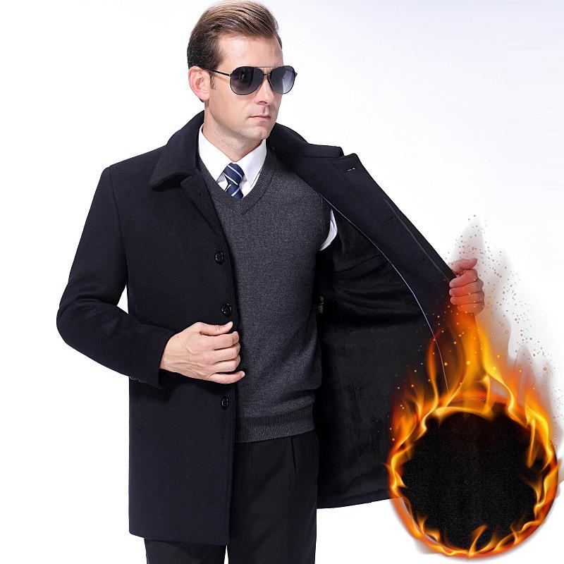 毛呢夹克男中年中长款羊毛大衣保暖加绒加厚呢子外套男爸爸冬装