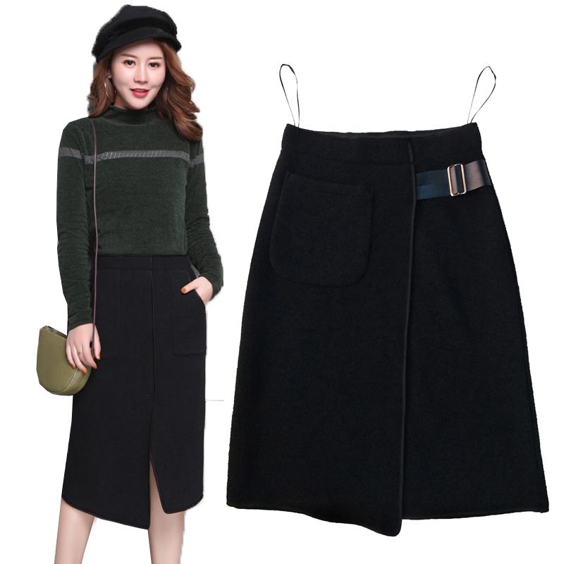 Fishtail skirt skirt autumn and winter mid length high waist tweed A-line winter skirt hip skirt