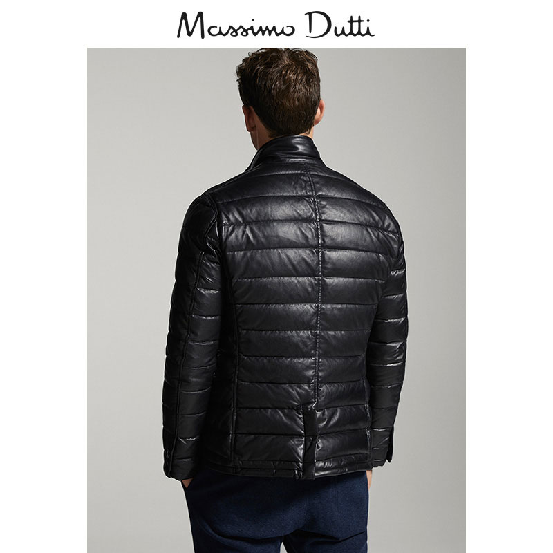 Massimo Dutti мужской черный вниз / наппа мягкий кожа пальто 03305335800