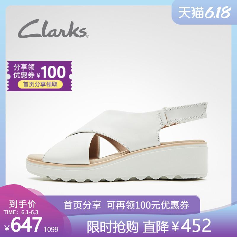 clarks其乐女鞋2020夏新款Jillian Jewel坡跟厚底松糕小白鞋凉鞋