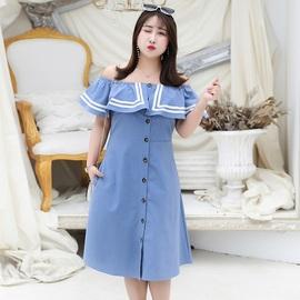 胖妹妹2020夏季超胖加肥大码女装特大码洋气水手服很仙的连衣裙子图片