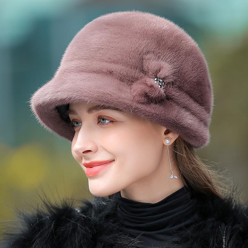 帽子女时尚优雅裘皮礼帽中老年皮草帽子秋冬季保暖整皮水貂毛帽子