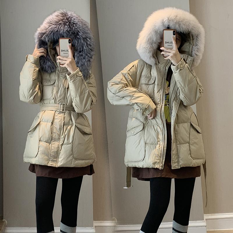 东大门2021冬新款小个子时尚羽绒服女收腰修身连帽狐狸毛领厚外套