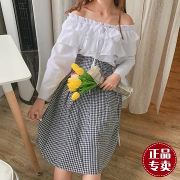 女装新款华哥弟情夏实拍韩国自制复古百搭修身显瘦大摆裙压褶格子