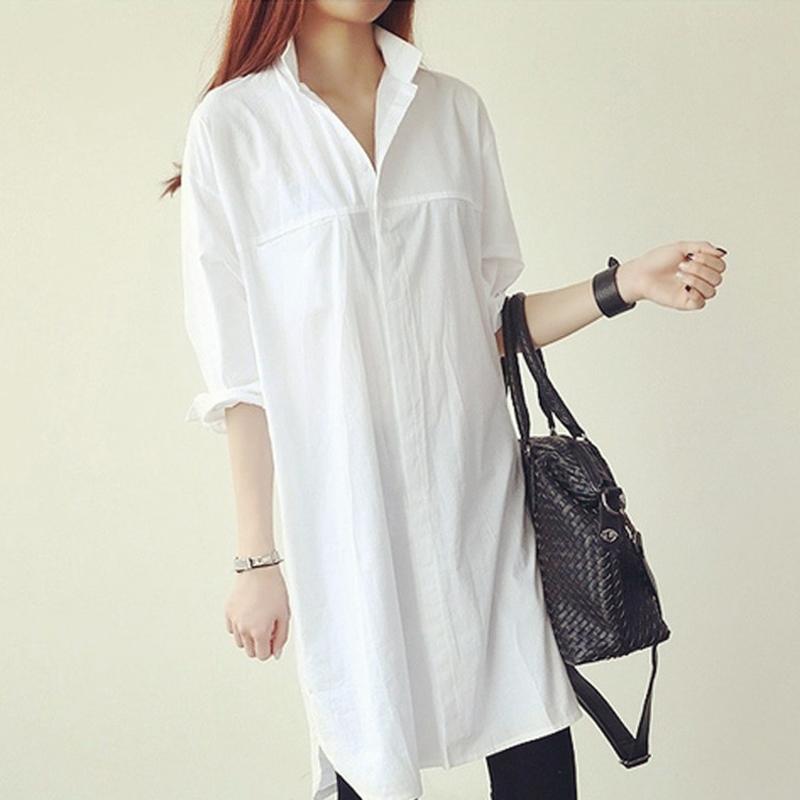 White shirt womens autumn 2019 new long sleeve top foreign fashion loose Korean version versatile design