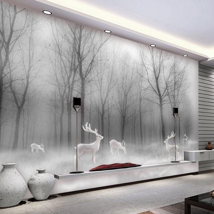 北欧麋鹿树林3D立体壁画5D无缝墙布8D卧室墙纸客厅电视背景墙壁纸