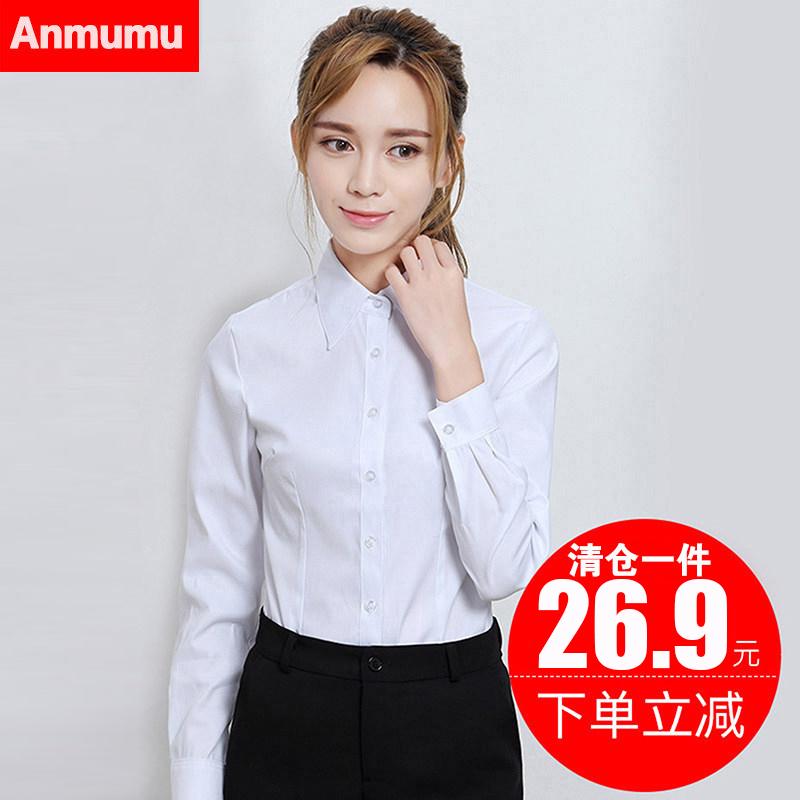 白色衬衫女长袖2018春新款韩范职业正装工作服大码V领加绒衬衣冬
