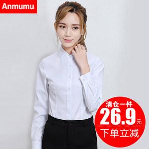 白色衬衫女长袖2019春秋新款韩范职业正装工作服大码V领工装衬衣