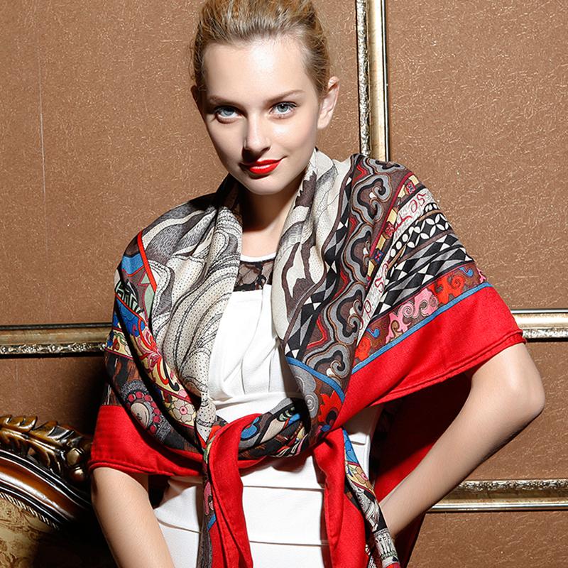 Womens scarf big red silk scarf winter Red Square Scarf Shawl dual purpose ethnic style super elegant