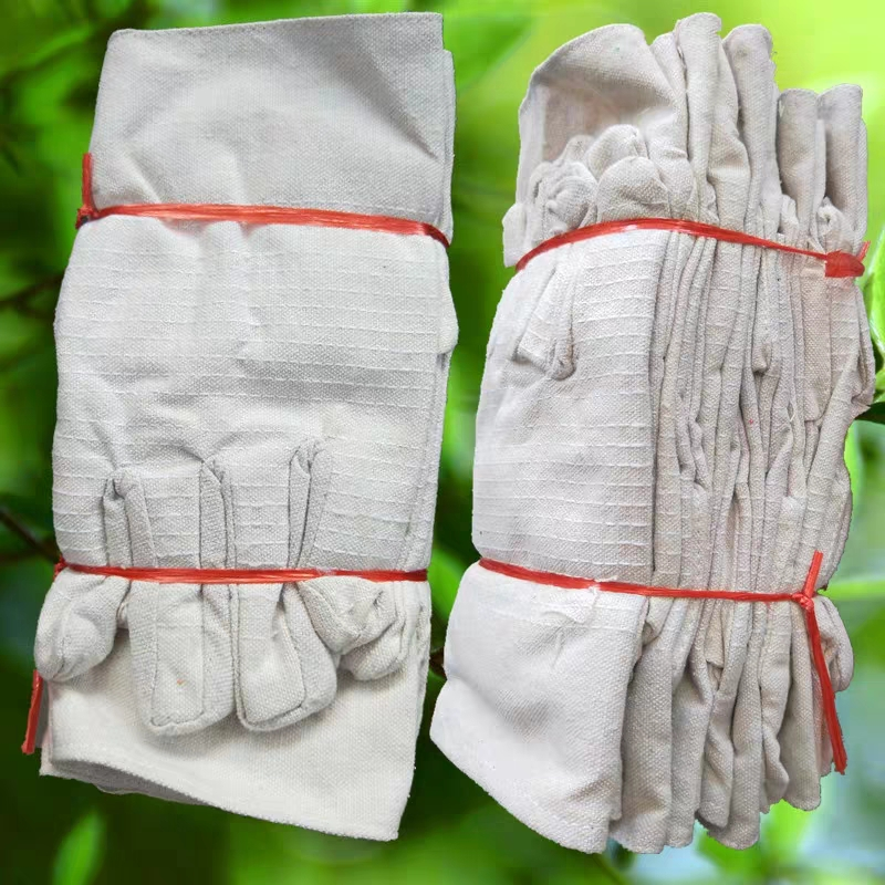 Double layer thickened canvas gloves 24 line full lining wear-resistant mechanical welder protective labor protection products factory direct sales