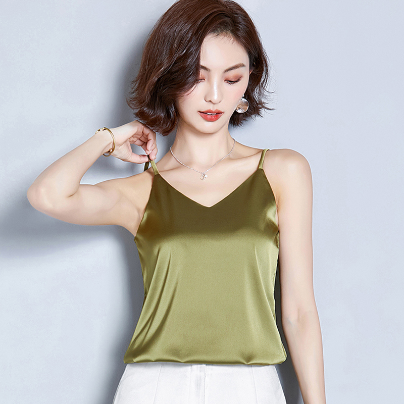 Summer silk smooth suspender tank top womens short style wear Korean version solid color all-around top with off belt bottom coat