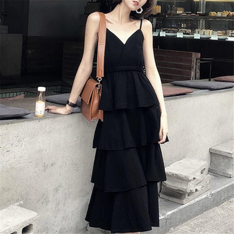 蛋糕裙小黑裙女夏海边度假V领吊带连衣裙仙女法式山本过膝桔梗裙限8000张券