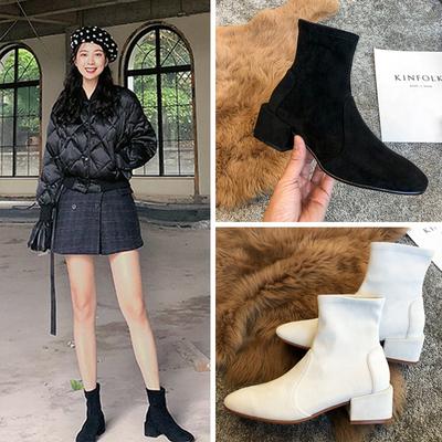粗跟袜靴女SW短靴2019新款春秋中跟短筒单靴 百搭网红瘦瘦靴女靴