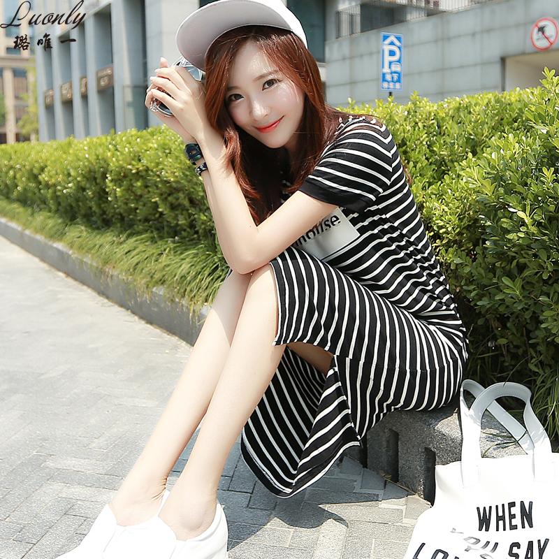很仙2019新款夏黑白条纹T恤连衣裙女韩版小清新宽松直筒学生长裙