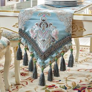 美式桌旗高档客厅茶几旗电视柜欧式奢华餐桌布艺床旗盖巾餐垫定做