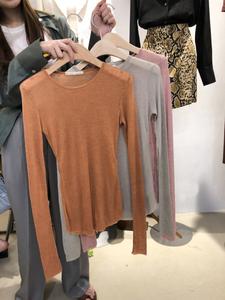 韩国东大门女装2020秋季长袖休闲T恤百搭圆领纯色修身针织打底衫