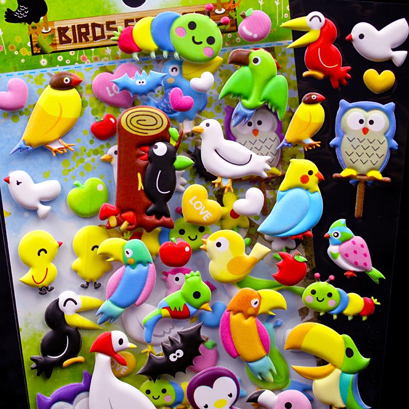 闪乐贴纸儿童卡通立体泡泡贴小鸟飞禽鸟类贴画幼儿园宝宝奖励贴纸