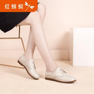 红蜻蜓女鞋春季新款平底鞋子女春秋百搭休闲鞋百搭小皮鞋断码清仓