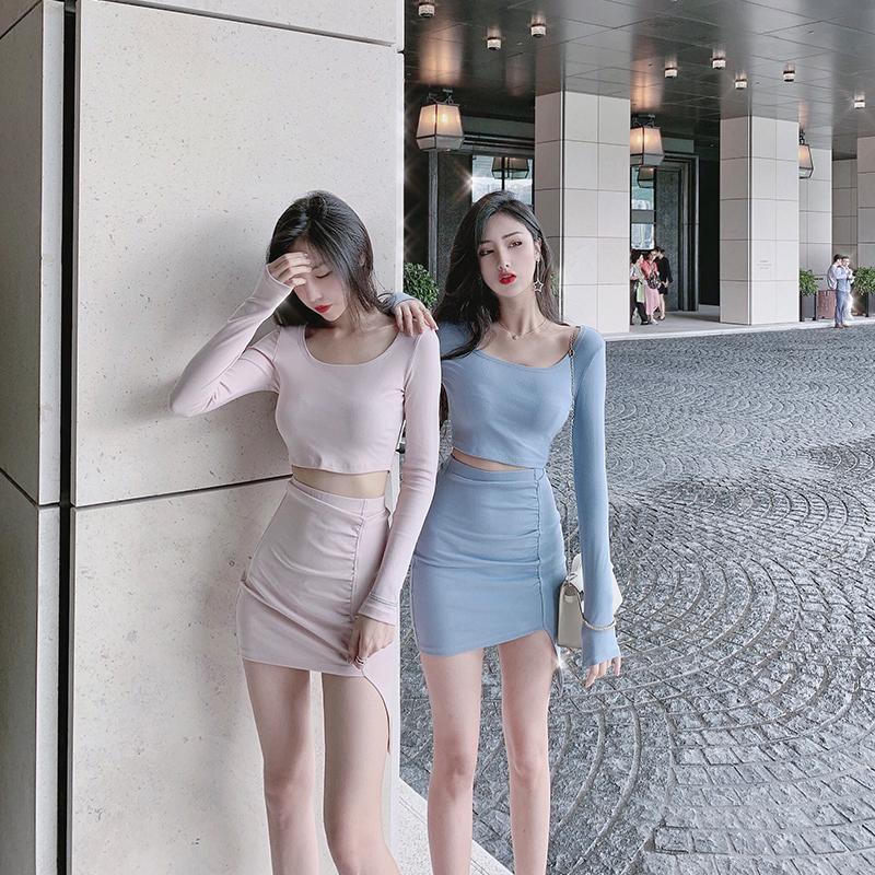 金金酷酷哒露脐上衣高腰短裙两件套网红气质御姐女神范套装女秋冬