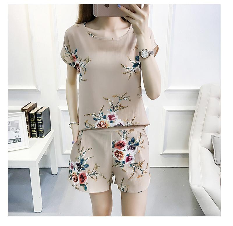 雪纺套装女夏季时尚新款二件套女装夏装名媛小香风短袖短裤两件套