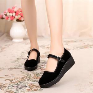 老北京布鞋女鞋单鞋厚底休闲鞋工作鞋黑色鞋子女平底妈妈鞋跳舞鞋
